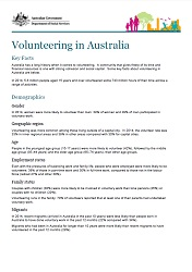 Volunteering in Australia Fact Sheet Cover Image