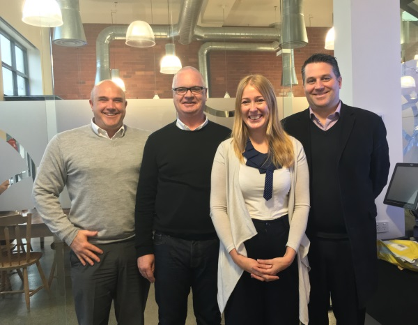 Partnership member Angela Perry with the Be Collective team (L to R): Rob Wise, Mark Campbell and Tim Seear.