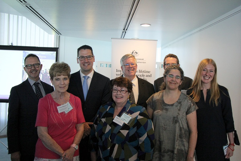 Giving Australia 2016 launch, Assistant Minister with research partners and Partnership members. Left to right: Wayne Burns, Colleen McGann, Assistant Minister Seselja, Wendy Scaife, Myles McGregor-Lowndes, Peter Treseder, Jo Barraket and Angela Perry