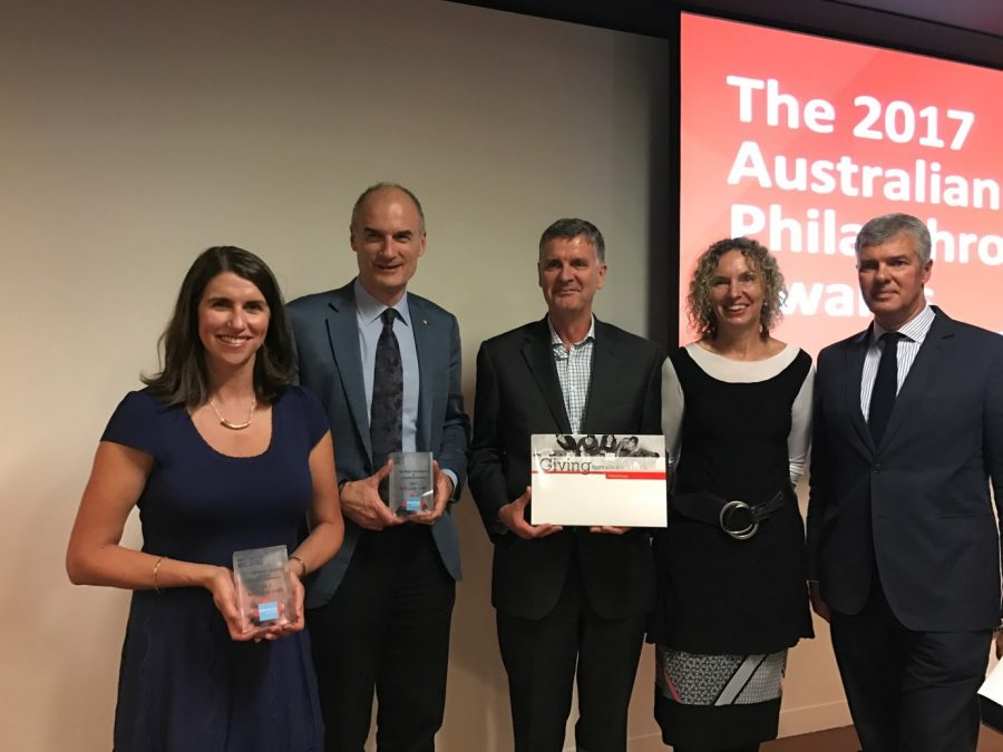 Anna Sharbek, Martin Myer, Christopher Baker, Sarah Davies and Ian Darling at the 2017 Philanthropy Australia Awards